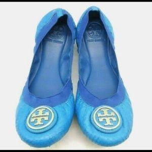 Tory Burch Blue Snakeskin Print Ballet Flats